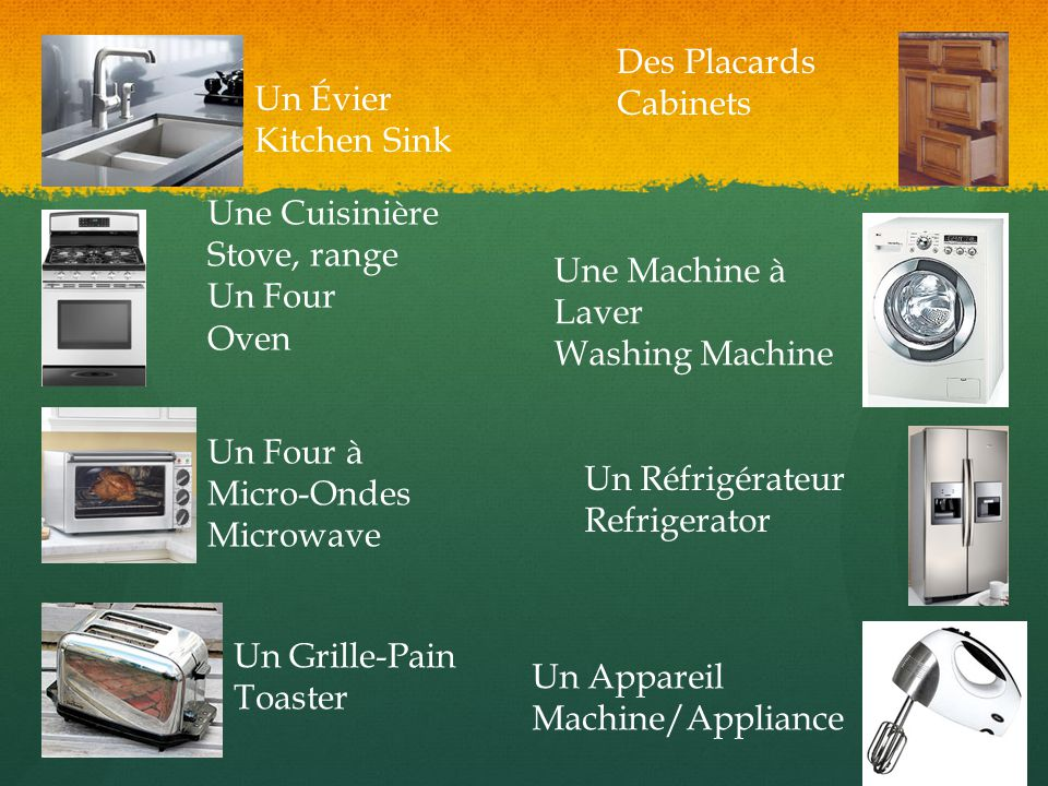 Un Évier Kitchen Sink Une Cuisinière Stove, range Un Four Oven Un Four à Micro-Ondes Microwave Un Grille-Pain Toaster Des Placards Cabinets Une Machin