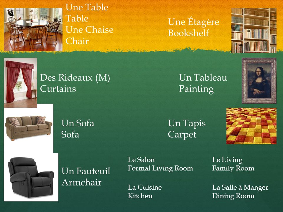 Une Table Table Une Chaise Chair Des Rideaux (M) Curtains Un Sofa Sofa Un Fauteuil Armchair Une Étagère Bookshelf Un Tableau Painting Un Tapis Carpet Le Salon Formal Living Room Le Living Family Room La Cuisine Kitchen La Salle à Manger Dining Room