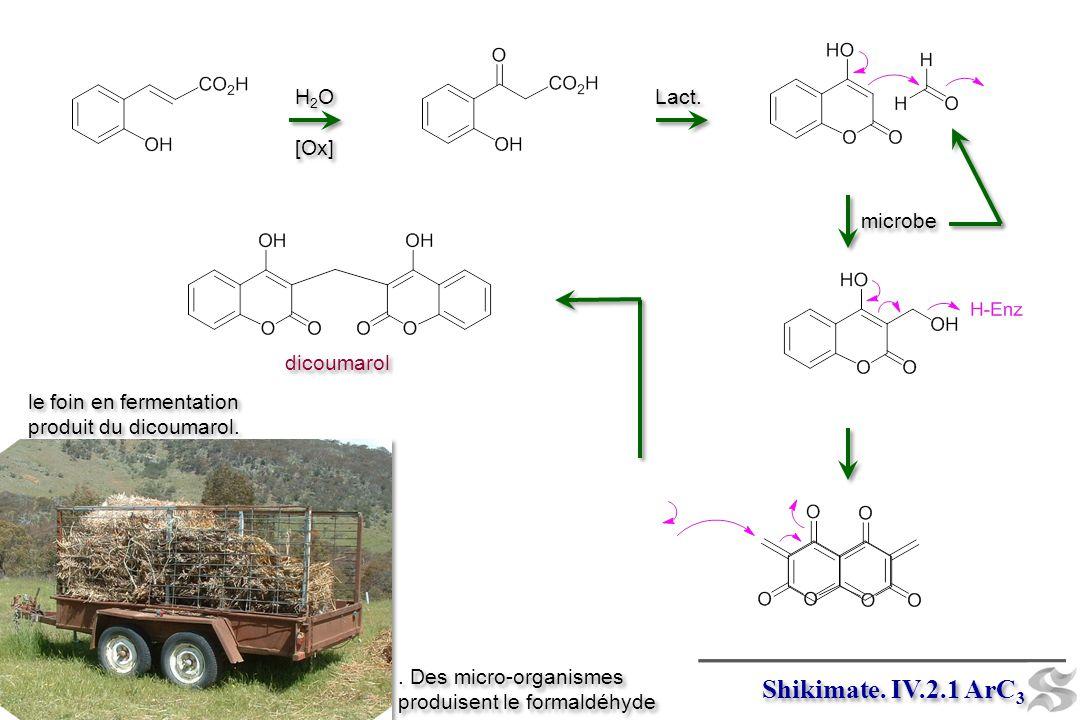 microbe dicoumarol le foin en fermentation produit du dicoumarol.. Des micro-organismes produisent le formaldéhyde Shikimate. IV.2.1 ArC 3