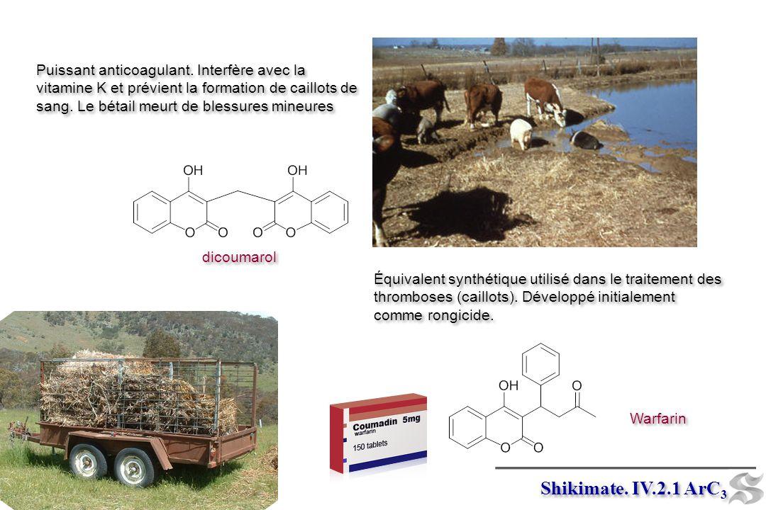 Warfarin Puissant anticoagulant. Interfère avec la vitamine K et prévient la formation de caillots de sang. Le bétail meurt de blessures mineures Puis
