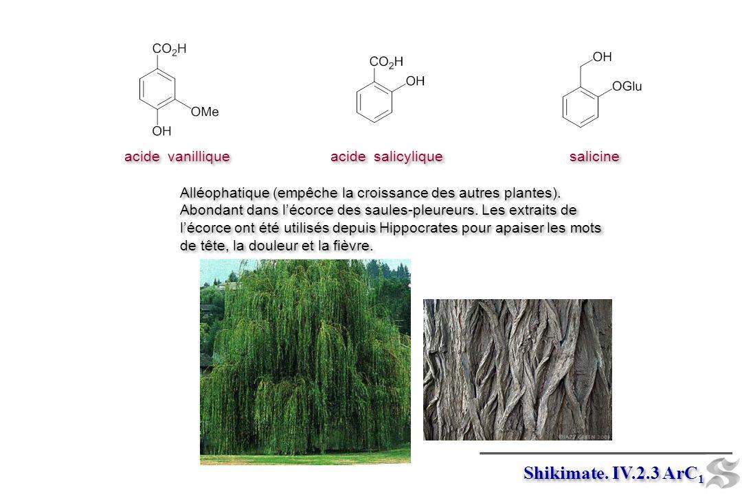 salicine acide salicylique acide vanillique Alléophatique (empêche la croissance des autres plantes). Abondant dans lécorce des saules-pleureurs. Les