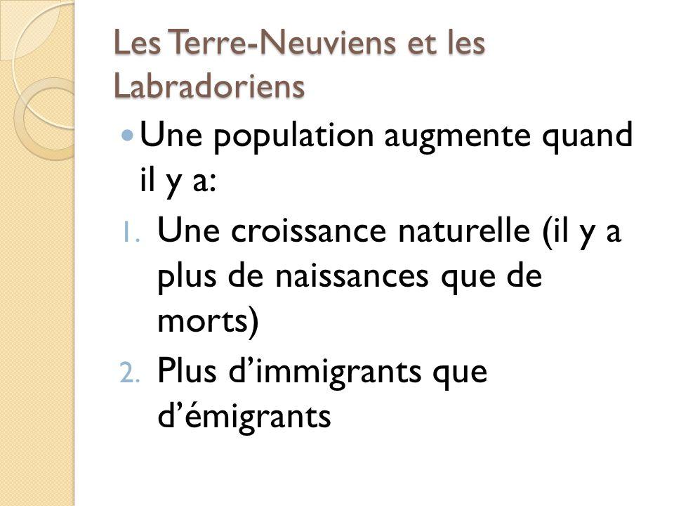 Les Terre-Neuviens et les Labradoriens Une population augmente quand il y a: 1. Une croissance naturelle (il y a plus de naissances que de morts) 2. P