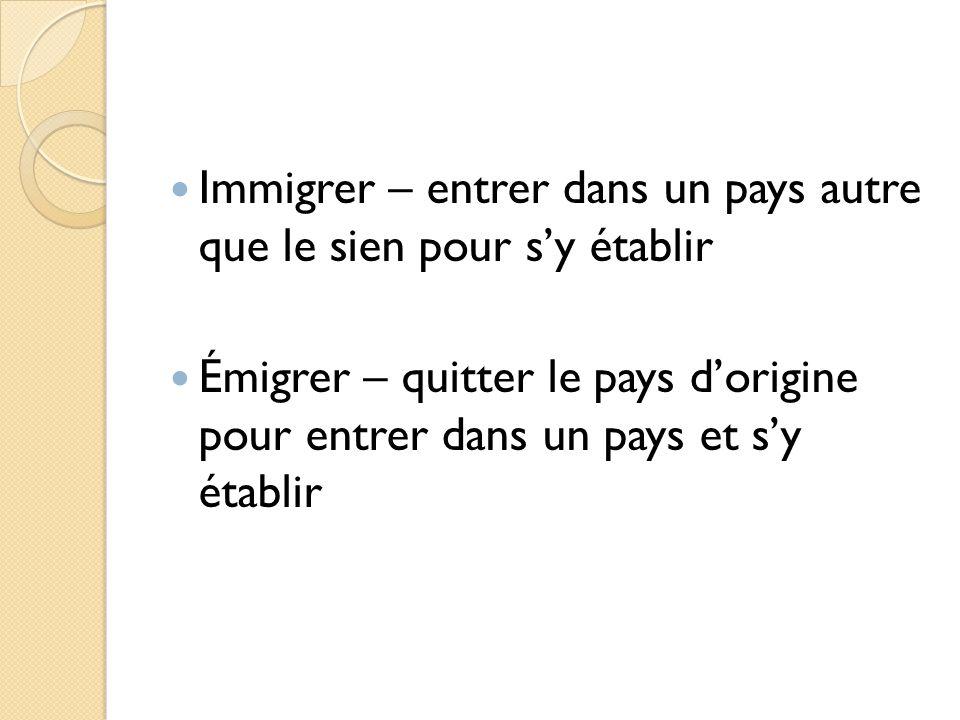 Immigrer – entrer dans un pays autre que le sien pour sy établir Émigrer – quitter le pays dorigine pour entrer dans un pays et sy établir