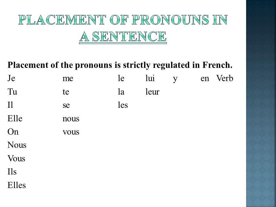 Placement of the pronouns is strictly regulated in French. Jeme leluiyen Verb Tutelaleur Ilseles Ellenous Onvous Nous Vous Ils Elles