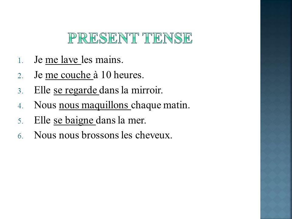 Reflexive verbs are conjugated with the auxiliary verb être in the passé composé Remember that to form the part participle of verbs: er – éir – ire - u The passé composé of reflexive verbs is formed as follows: Subject + reflexive pronoun+ present of être + past participle Jemesuislavé(e).