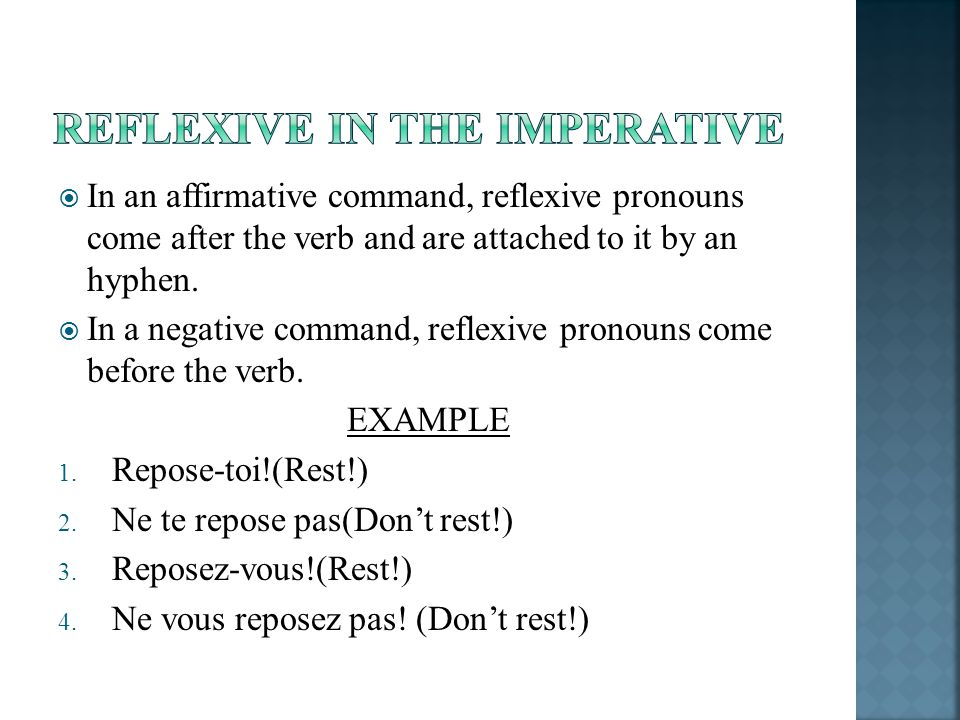 In an affirmative command, reflexive pronouns come after the verb and are attached to it by an hyphen. In a negative command, reflexive pronouns come
