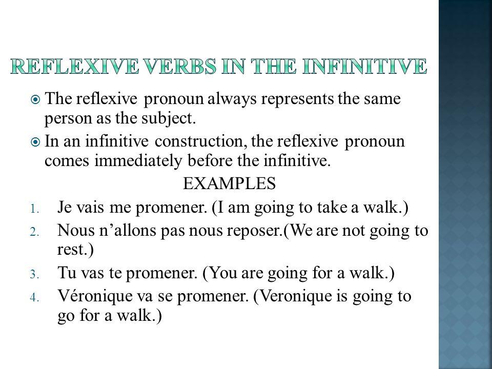 The reflexive pronoun always represents the same person as the subject.