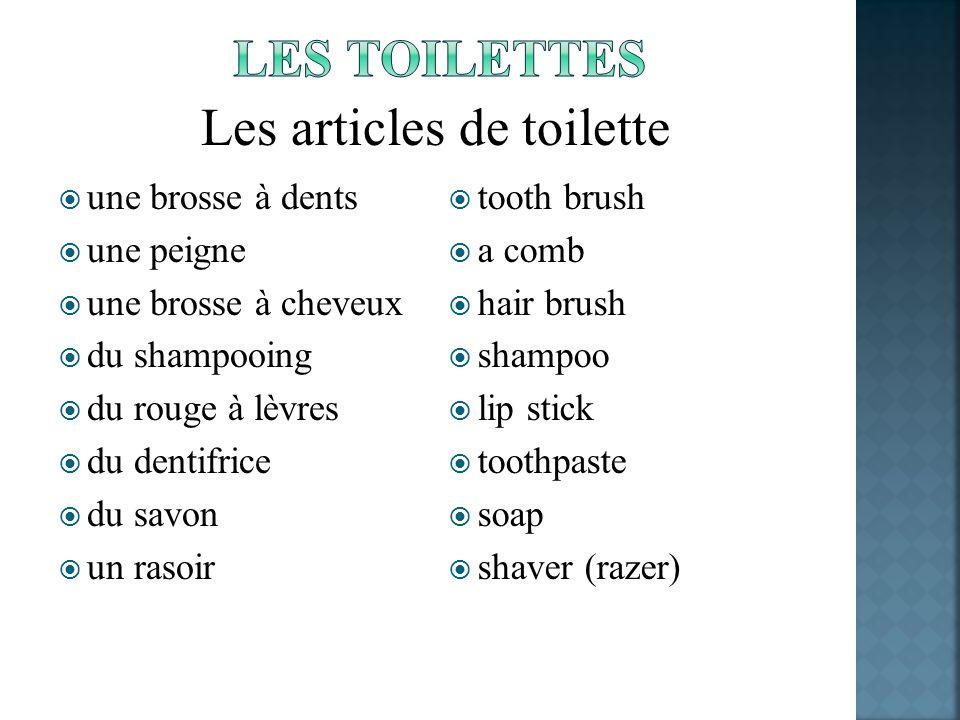 une brosse à dents une peigne une brosse à cheveux du shampooing du rouge à lèvres du dentifrice du savon un rasoir tooth brush a comb hair brush sham