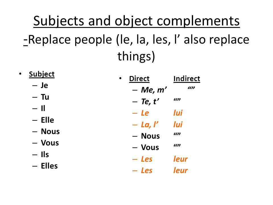 Subjects and object complements - Replace people (le, la, les, l also replace things) Subject – Je – Tu – Il – Elle – Nous – Vous – Ils – Elles DirectIndirect – Me, m – Te, t – Lelui – La, llui – Nous – Vous – Lesleur