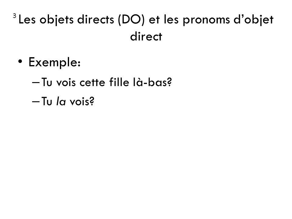 Les objets directs (DO) et les pronoms dobjet direct Exemple: – Tu vois cette fille là-bas? – Tu la vois? 3