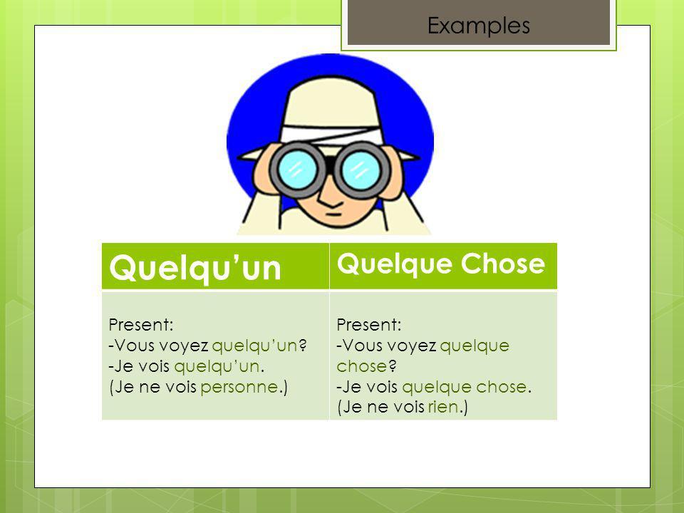 Examples Quelquun Quelque Chose Present: -Vous voyez quelquun.