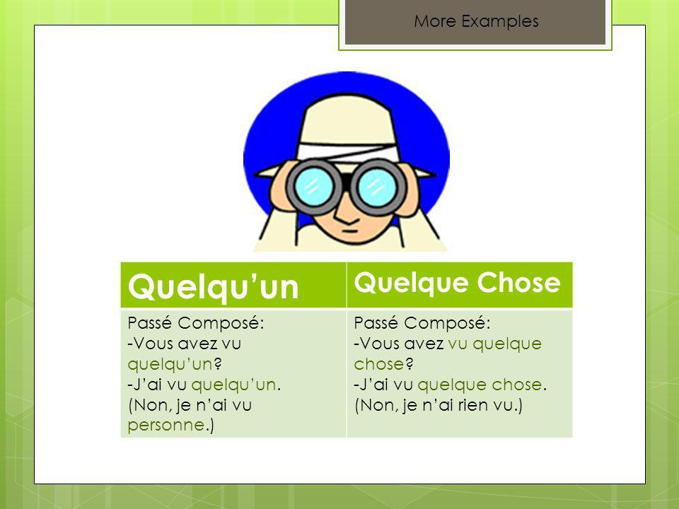 More Examples Quelquun Quelque Chose Passé Composé: -Vous avez vu quelquun.