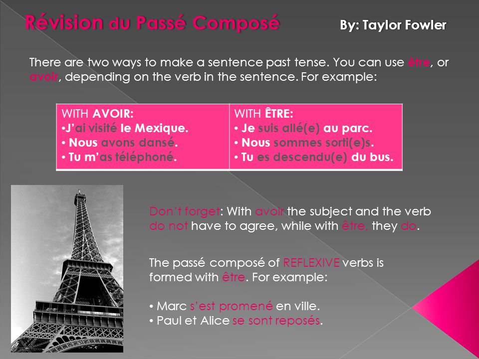 While the passé composé of most verbs is formed with avoir, some verbs are formed with être.