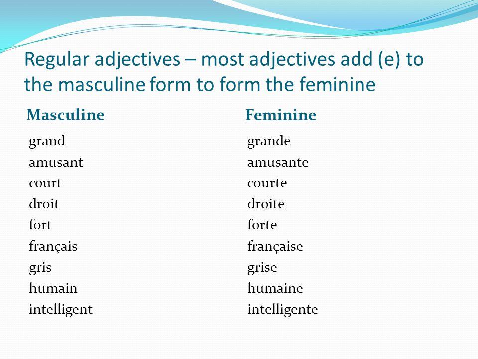 Regular adjectives – most adjectives add (e) to the masculine form to form the feminine Masculine Feminine grand amusant court droit fort français gri