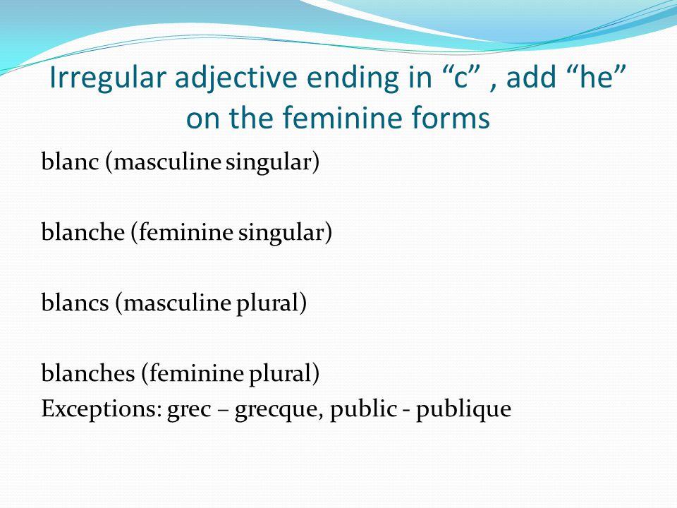 Irregular adjective ending in c, add he on the feminine forms blanc (masculine singular) blanche (feminine singular) blancs (masculine plural) blanche
