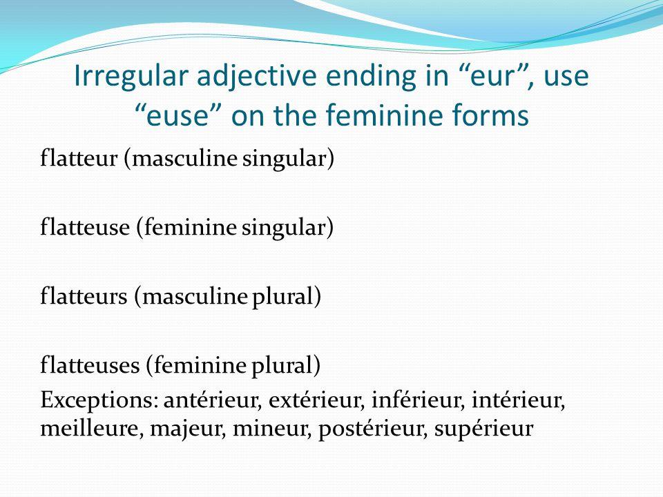 Irregular adjective ending in eur, use euse on the feminine forms flatteur (masculine singular) flatteuse (feminine singular) flatteurs (masculine plu