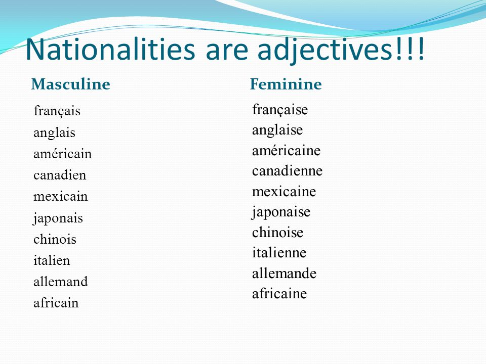 Nationalities are adjectives!!.