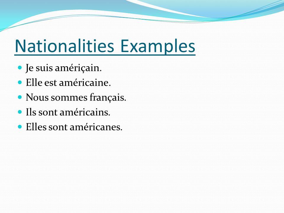 Je suis amériçain. Elle est américaine. Nous sommes français. Ils sont américains. Elles sont américanes. Nationalities Examples