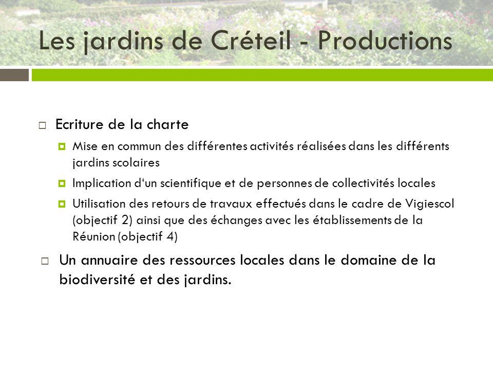 Les jardins de Créteil - Productions Ecriture de la charte Mise en commun des différentes activités réalisées dans les différents jardins scolaires Im