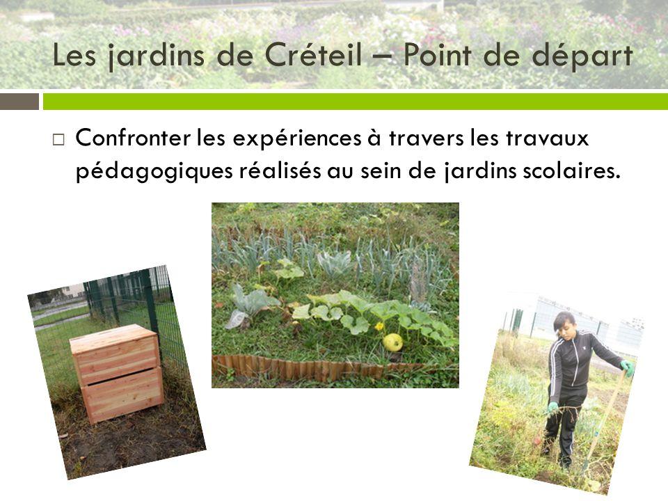 Les jardins de Créteil – Point de départ Confronter les expériences à travers les travaux pédagogiques réalisés au sein de jardins scolaires.