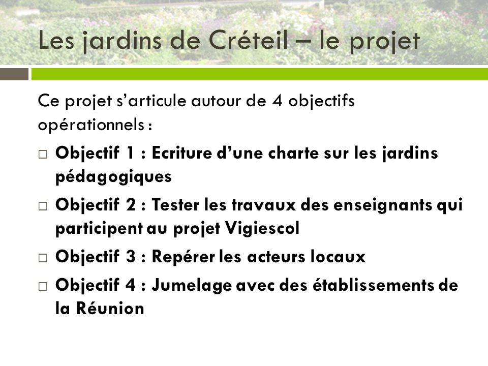 Les jardins de Créteil – le projet Ce projet sarticule autour de 4 objectifs opérationnels : Objectif 1 : Ecriture dune charte sur les jardins pédagog
