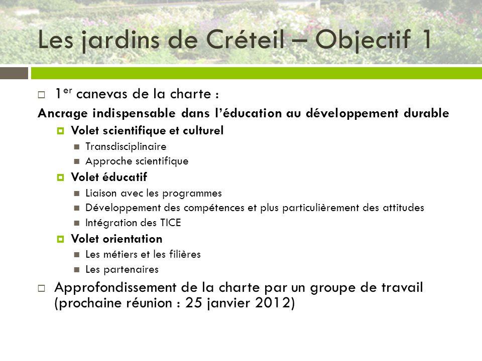 Les jardins de Créteil – Objectif 1 1 er canevas de la charte : Ancrage indispensable dans léducation au développement durable Volet scientifique et c