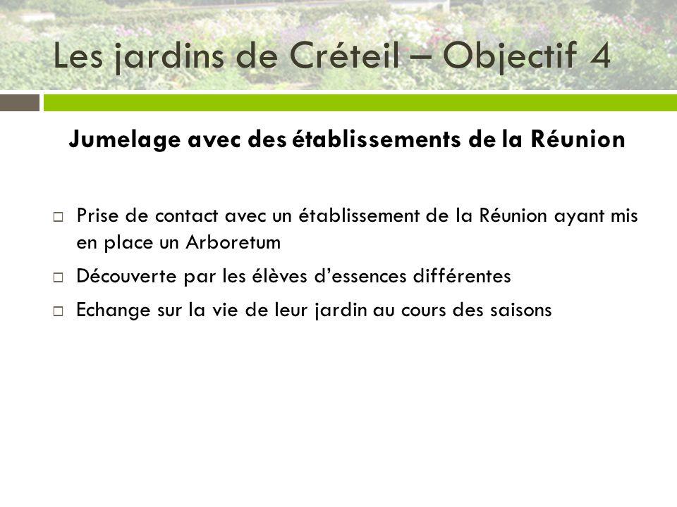 Les jardins de Créteil – Objectif 4 Jumelage avec des établissements de la Réunion Prise de contact avec un établissement de la Réunion ayant mis en p