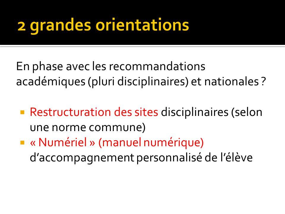 En phase avec les recommandations académiques (pluri disciplinaires) et nationales ? Restructuration des sites disciplinaires (selon une norme commune