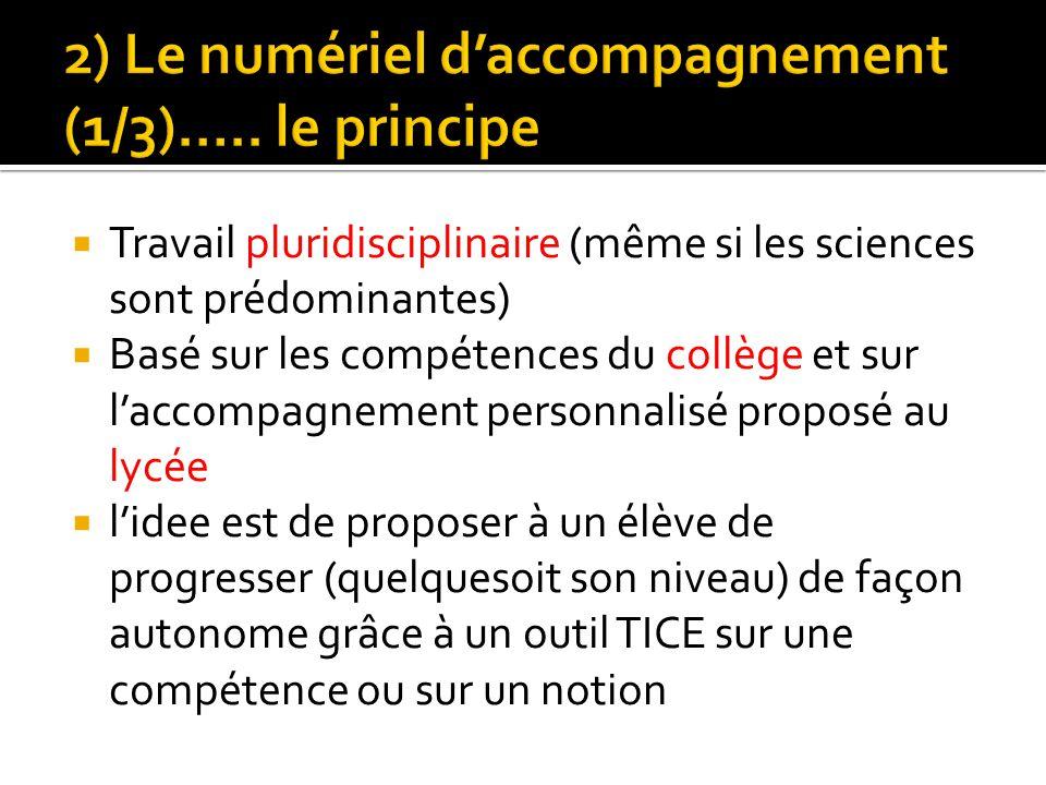 Travail pluridisciplinaire (même si les sciences sont prédominantes) Basé sur les compétences du collège et sur laccompagnement personnalisé proposé a
