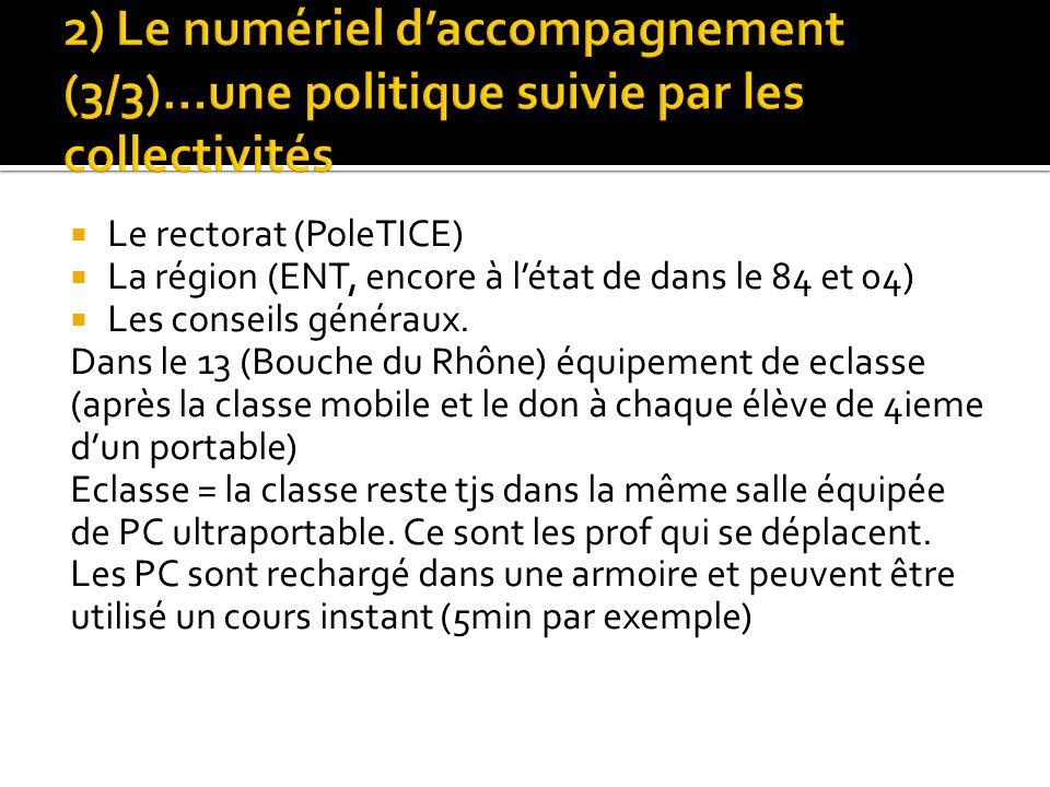 Le rectorat (PoleTICE) La région (ENT, encore à létat de dans le 84 et 04) Les conseils généraux. Dans le 13 (Bouche du Rhône) équipement de eclasse (