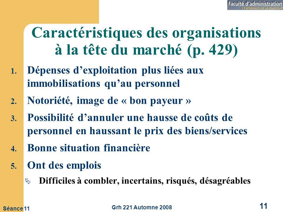 Grh 221 Automne 2008 11 Séance 11 Caractéristiques des organisations à la tête du marché (p.