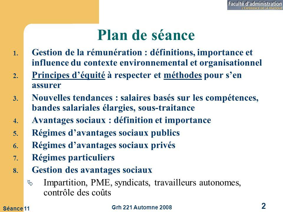 Grh 221 Automne 2008 2 Séance 11 Plan de séance 1.
