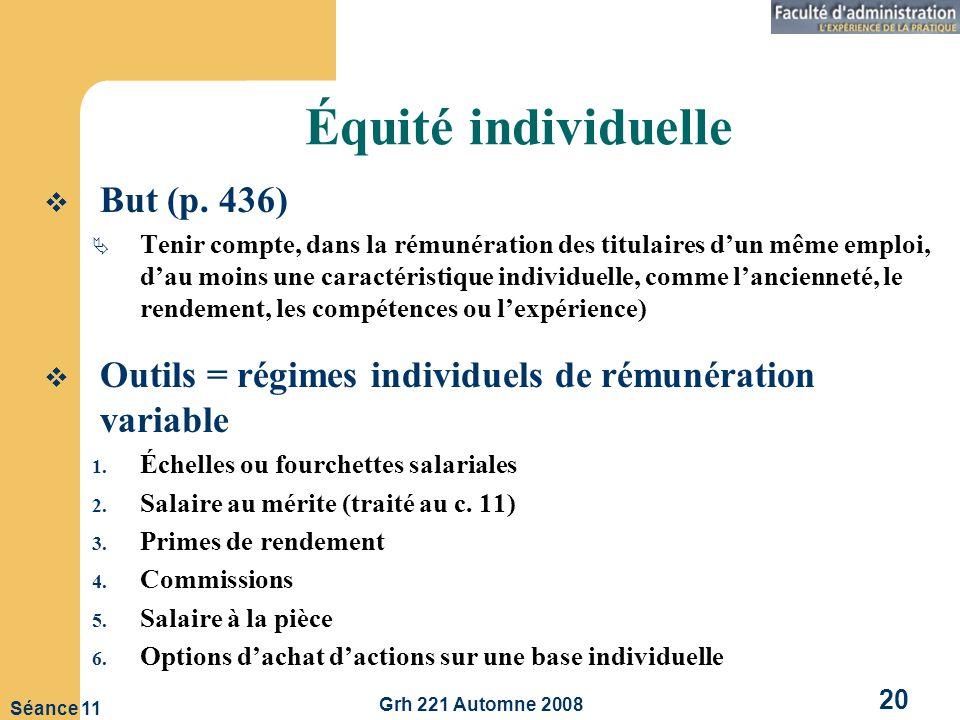 Grh 221 Automne 2008 20 Séance 11 Équité individuelle But (p.