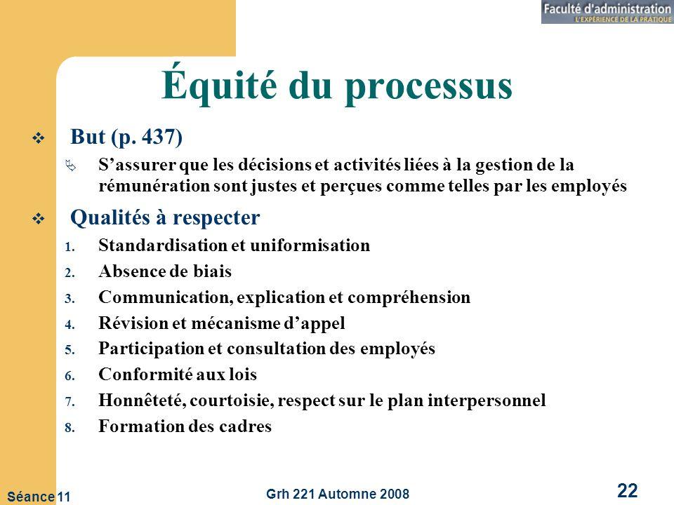 Grh 221 Automne 2008 22 Séance 11 Équité du processus But (p.