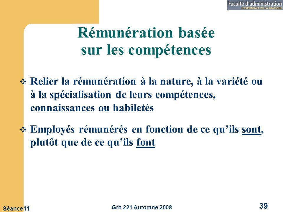 Grh 221 Automne 2008 39 Séance 11 Rémunération basée sur les compétences Relier la rémunération à la nature, à la variété ou à la spécialisation de leurs compétences, connaissances ou habiletés Employés rémunérés en fonction de ce quils sont, plutôt que de ce quils font