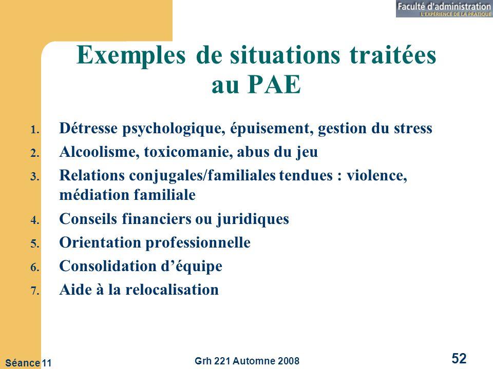 Grh 221 Automne 2008 52 Séance 11 Exemples de situations traitées au PAE 1.