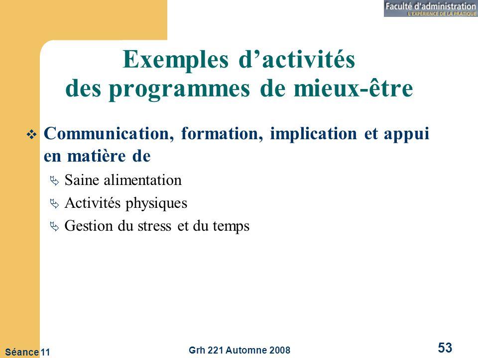 Grh 221 Automne 2008 53 Séance 11 Exemples dactivités des programmes de mieux-être Communication, formation, implication et appui en matière de Saine alimentation Activités physiques Gestion du stress et du temps