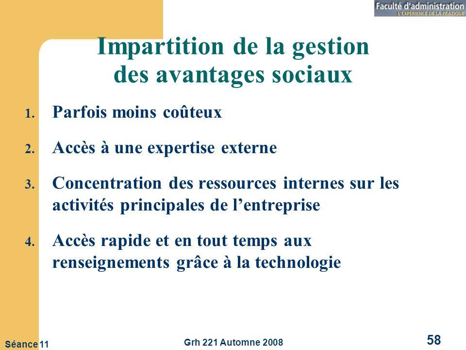 Grh 221 Automne 2008 58 Séance 11 Impartition de la gestion des avantages sociaux 1.