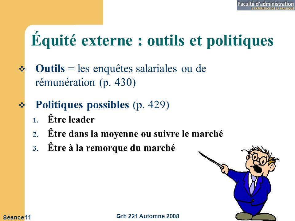 Grh 221 Automne 2008 9 Séance 11 Équité externe : outils et politiques Outils = les enquêtes salariales ou de rémunération (p.