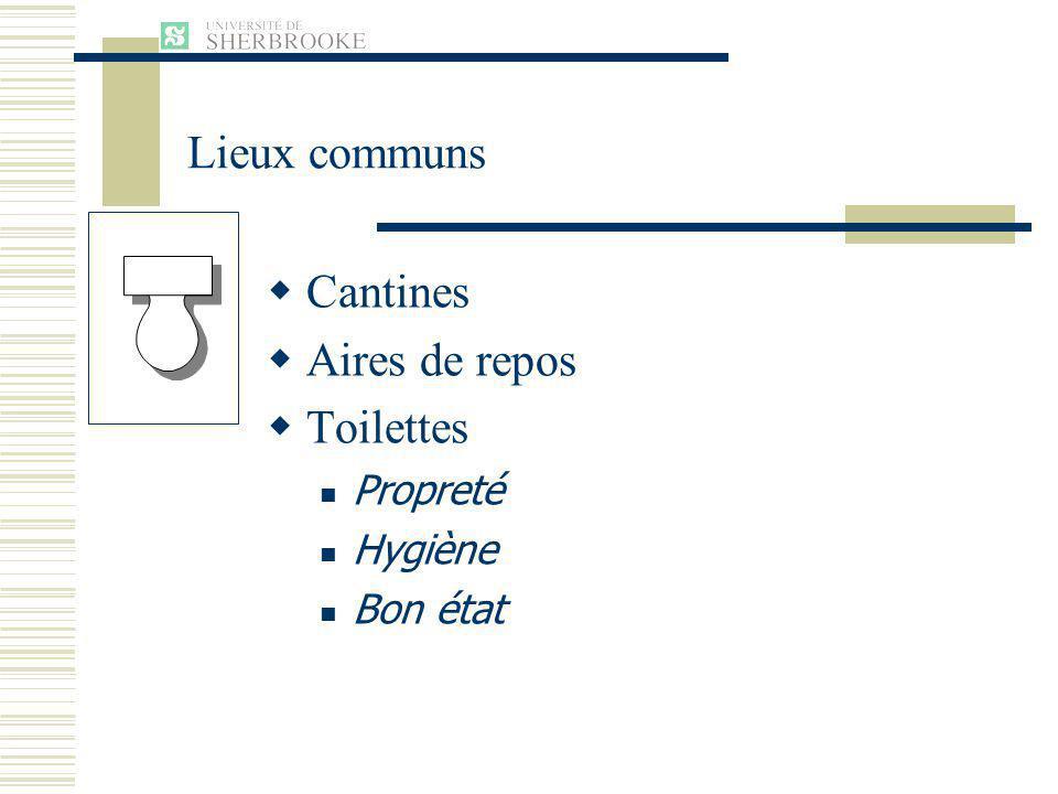 Cantines Aires de repos Toilettes Propreté Hygiène Bon état Lieux communs