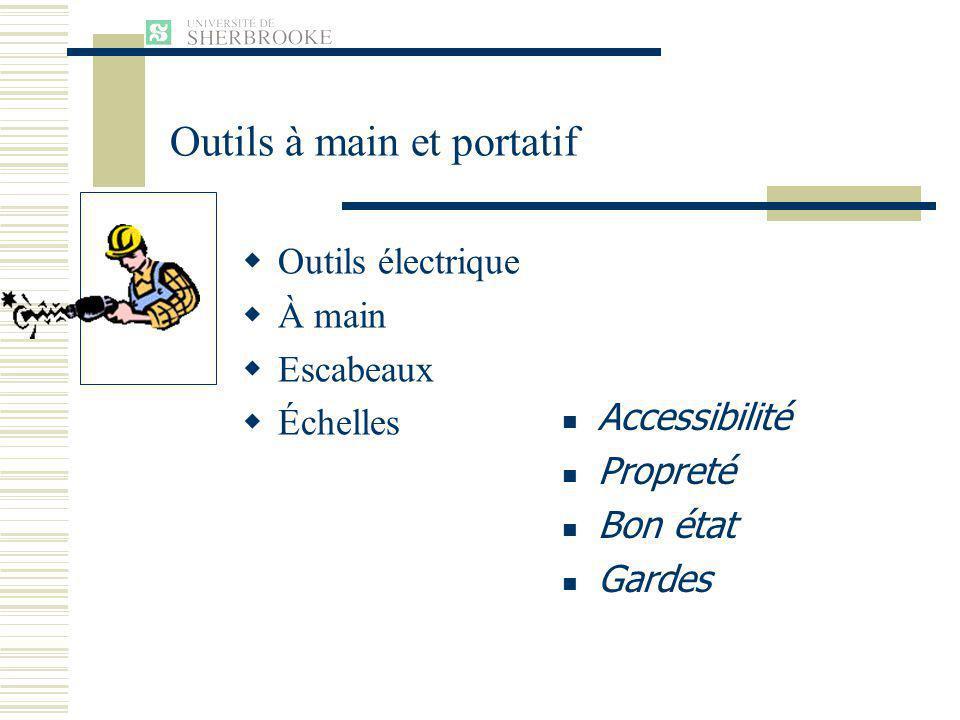 Outils électrique À main Escabeaux Échelles Accessibilité Propreté Bon état Gardes Outils à main et portatif