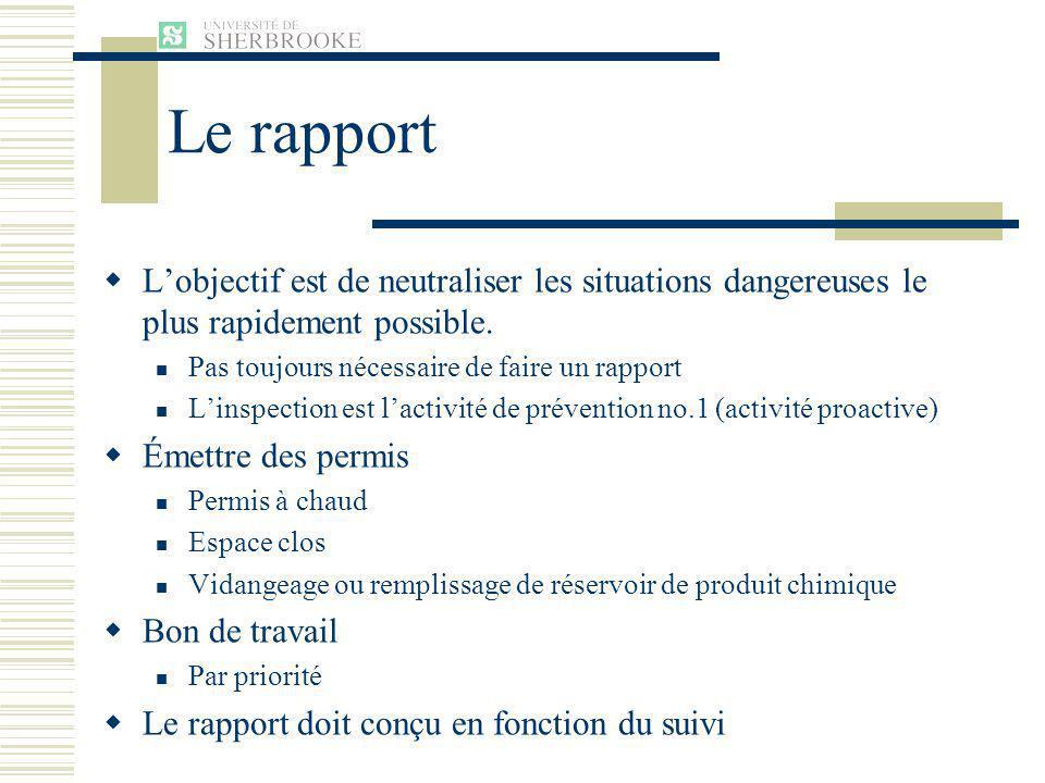 Le rapport Lobjectif est de neutraliser les situations dangereuses le plus rapidement possible.
