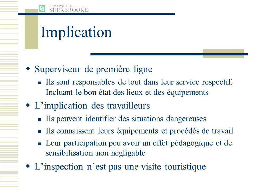 Implication Superviseur de première ligne Ils sont responsables de tout dans leur service respectif.