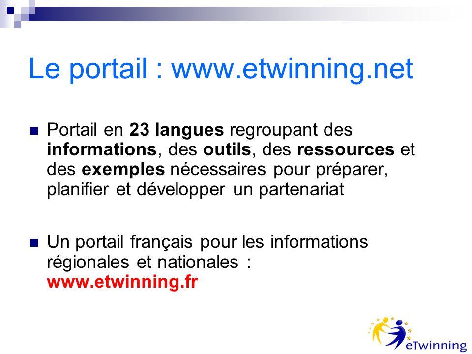 Le portail : www.etwinning.net Portail en 23 langues regroupant des informations, des outils, des ressources et des exemples nécessaires pour préparer, planifier et développer un partenariat Un portail français pour les informations régionales et nationales : www.etwinning.fr