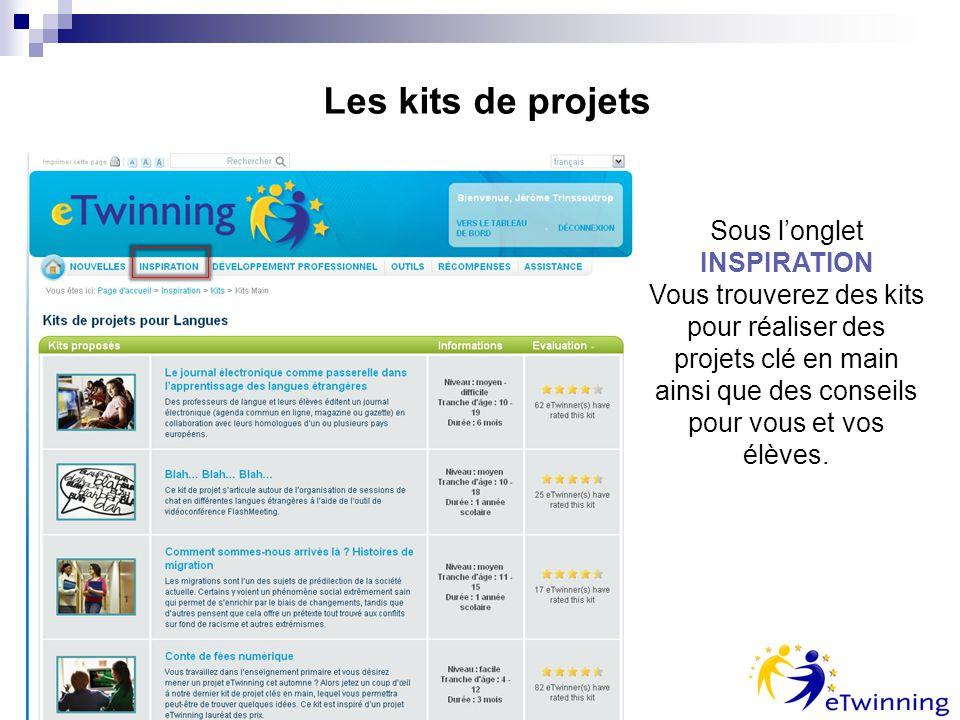 Les kits de projets Sous longlet INSPIRATION Vous trouverez des kits pour réaliser des projets clé en main ainsi que des conseils pour vous et vos élèves.