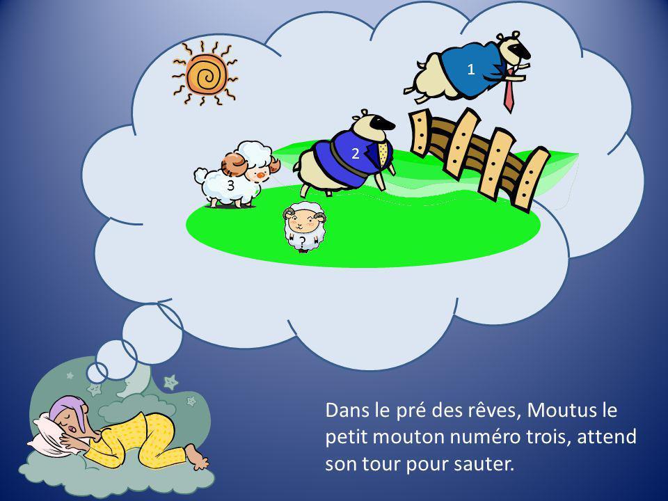 Dans le pré des rêves, Moutus le petit mouton numéro trois, attend son tour pour sauter.