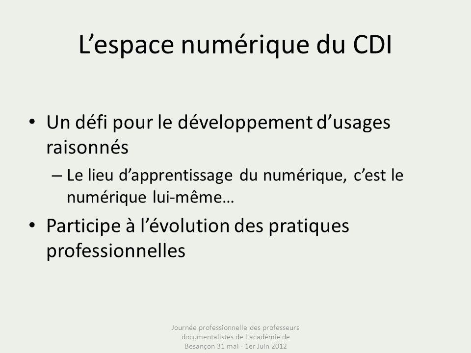 Lespace numérique du CDI Un défi pour le développement dusages raisonnés – Le lieu dapprentissage du numérique, cest le numérique lui-même… Participe