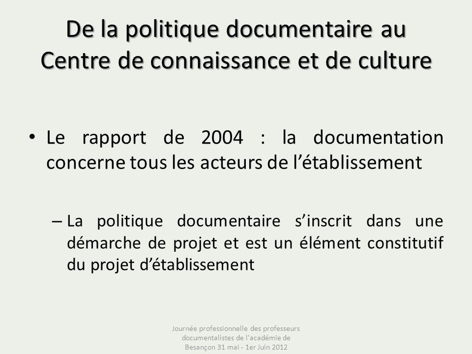 De la politique documentaire au Centre de connaissance et de culture Le rapport de 2004 : la documentation concerne tous les acteurs de létablissement