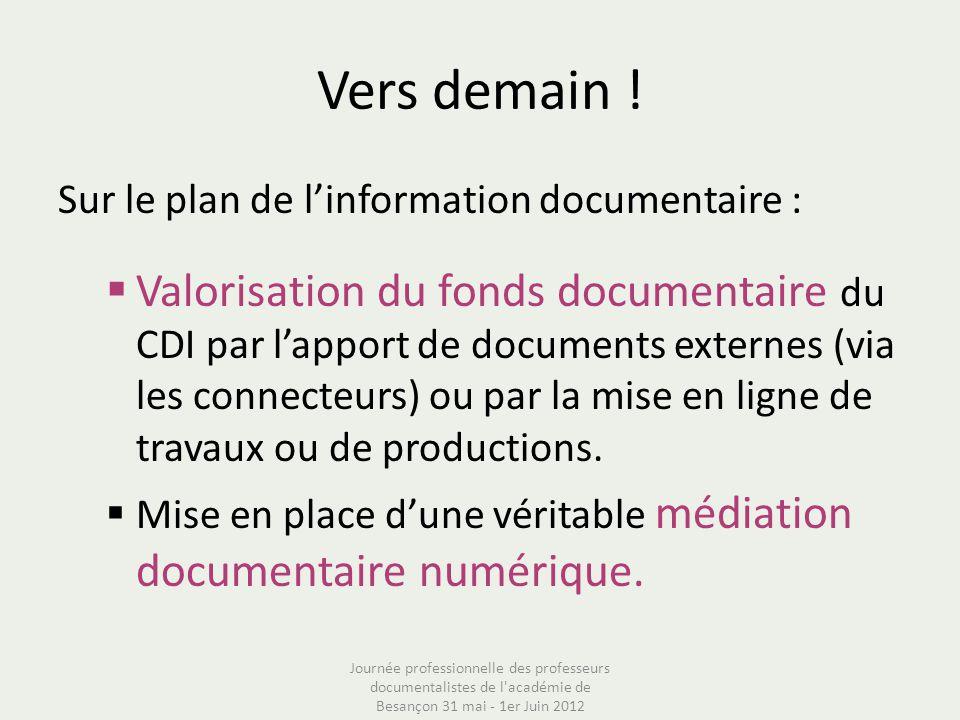 Vers demain ! Sur le plan de linformation documentaire : Valorisation du fonds documentaire du CDI par lapport de documents externes (via les connecte