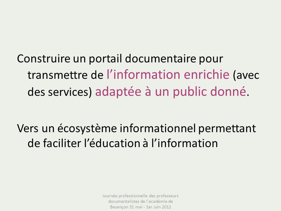 Construire un portail documentaire pour transmettre de linformation enrichie (avec des services) adaptée à un public donné. Vers un écosystème informa